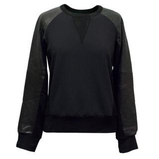 Rag & Bone Black Leather and Nylon Sweatshirt