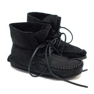 Isabel Marant Black 'Eve' Suede Moccasin Ankle Boots