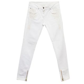 Sandro White Skinny Jeans with Cream Embroidery