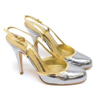 Miu Miu Metallic Silver and Gold Heels