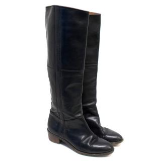 Dries Van Noten Black Leather Knee High Boots
