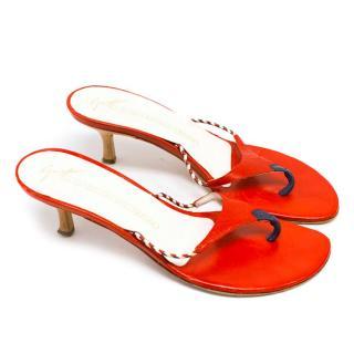 Giuseppe Zanotti Red Kitten Heel Sandals