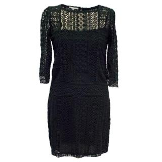 Maje Black Crochet Dress