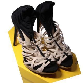 BNIB Fendi Beige Heeled Shoes It 36.5