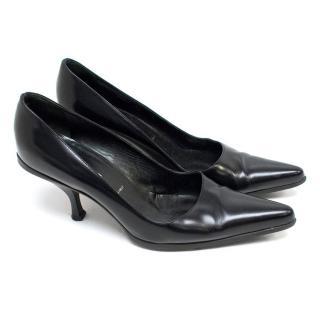 Prada Black Kitten Heel Pumps