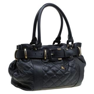 Burberry large black leather handbag