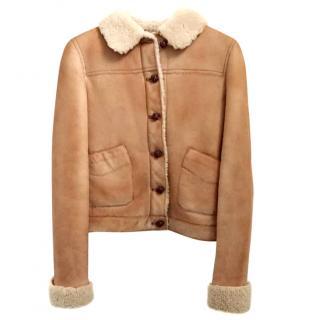 Miu Miu Leather Sheepskin Flying Jacket