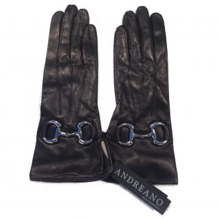 Andreano Napoli Black Leather Gloves with Silver Horsebit
