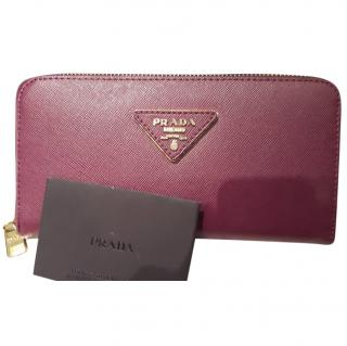 Prada deep purple zip around wallet