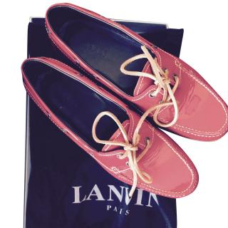 Lanvin men's red loafers
