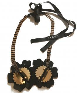 Marni Brass, Crystal and Horn Flower Necklace