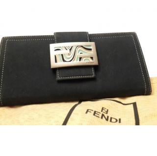 Fendi  Navy Indigo Logo Leather Wallet