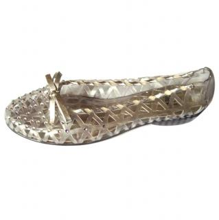 Stuart Weitzman silver and clear jellie shoe