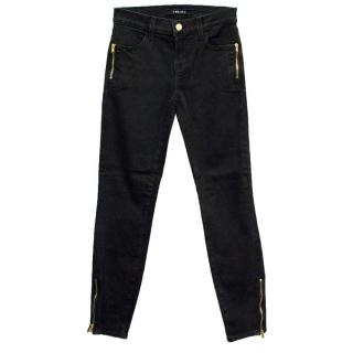 J Brand Black Skinny Jeans with Gold Zip Detailing