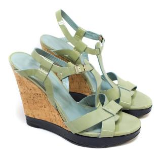 Nicole Farhi Patent Green Heeled Sandals