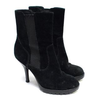 Ash Black Suede Heeled Chelsea Boots