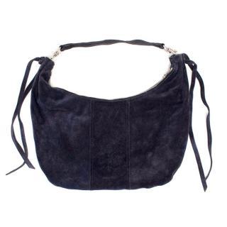 Miu Miu Navy Suede Boho Shoulder Bag
