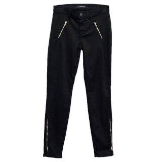 J Brand Black Skinny Jeans with Silver Zips