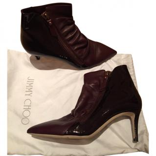 Jimmy Choo pointed burgundy ankle boots