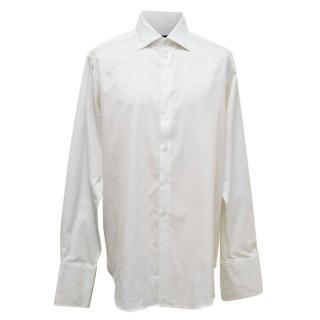 Richard James White Shirt with Subtle Green Pattern