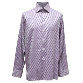 Richard James Savile Row Purple Printed Shirt