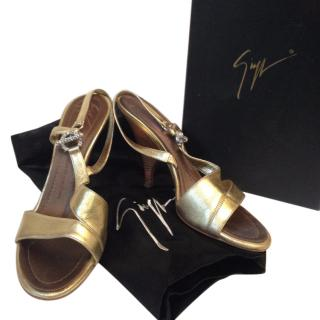 Giuseppe Zanotti Gold Lame shoes size UK4 EU37
