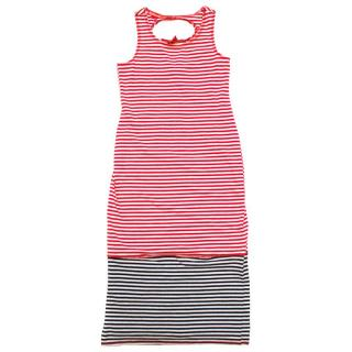 Kate Mack Girl's Red, White and Black Striped Dress