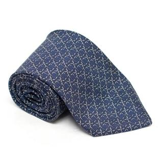 Hermes Blue and Silver Barbed Wire Tie