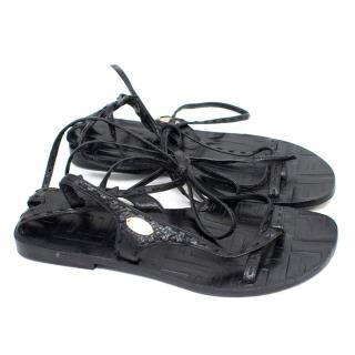 Fendi Black Lace Up Sandals
