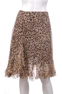 Blumarine Silk Chiffon Animal Print Skirt