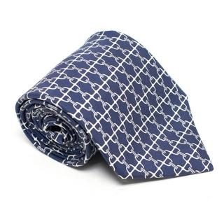 Hermes Blue and White Chainlink Silk Tie