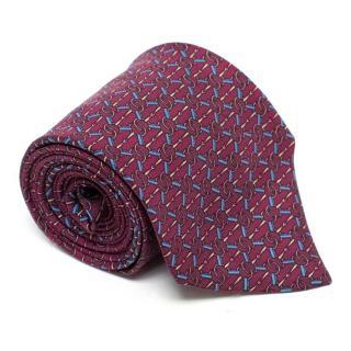 Hermes Oxblood Patterned Silk Tie
