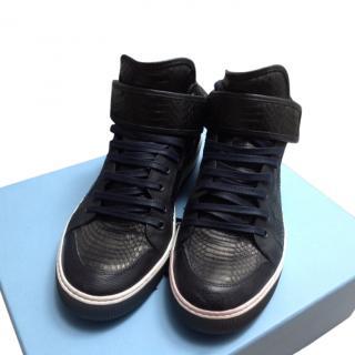 Lanvin Elaphe Python Mid Top Sneakers