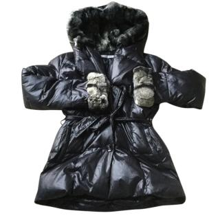Yves Salomon Padded Coat with Rex Fur Hood And Cuffs