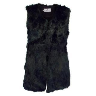 Malina Black Rabbit Fur Gilet