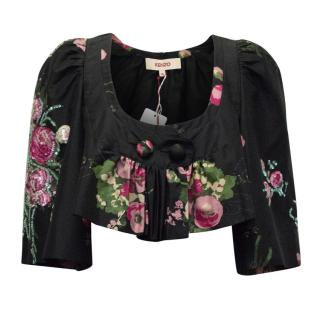 Kenzo Floral Beaded Cropped Top