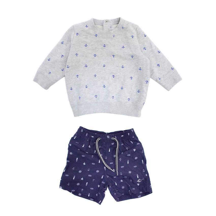Petit Bateau Boy's Jumper and Shorts Set