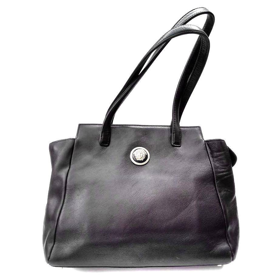 Gianni Versace Vintage Black Leather Shoulder Bag  113e8ab7ff04e