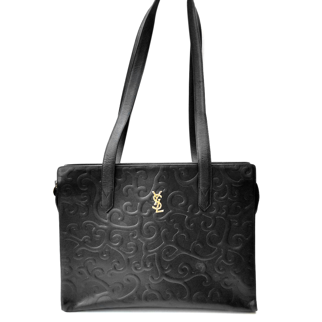3a8bbc49d407 Ysl Yves Saint Laurent Vintage Arabesque Black Leather Shoulder B ...