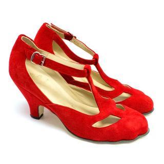 Vivienne Westwood Red Suede Animal Toe T-Bar Pumps