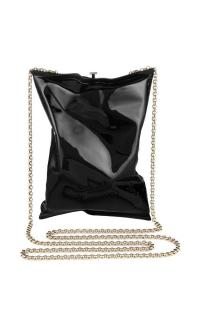 ANYA HINDMARCH Black Crisp Packet Clutch Bag