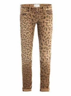 Current Elliott 'The Rolled Skinny' Camel Leopard Print Cords