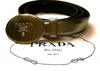 Prada bronze to gold belt 32