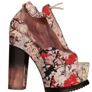 Erdem Floral Clear PVC Panel Chunky Wedges