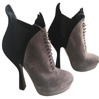 Alaia two tone suede boots