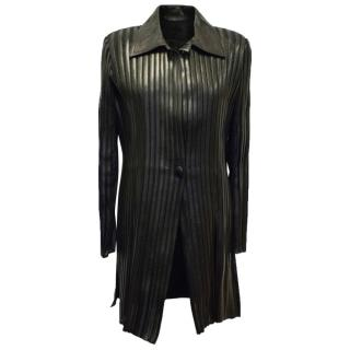 Jitrois Black Long Leather Stripe Panel Jacket