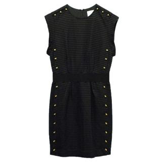 Phillip Lim Black Pencil Dress with Gold Studs