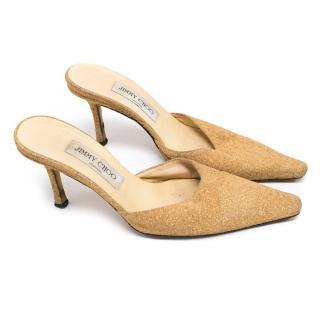 Jimmy Choo Gold Glitter Pointed Heeled Mules