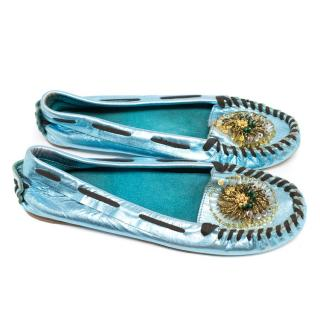 Miu Miu Metallic Blue Moccasin Style Pumps