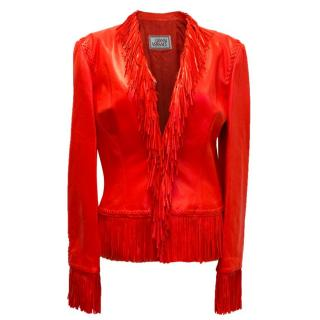 Versace Red Fringed Leather Jacket